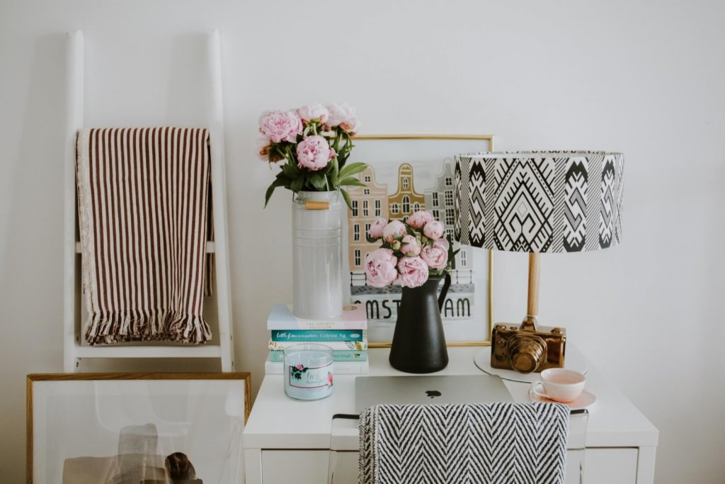 using cozy patterns in a professional home office decor