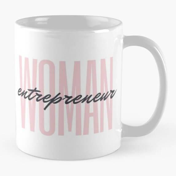 woman entrepreneur mug in pink, female entrepreneur aesthetic