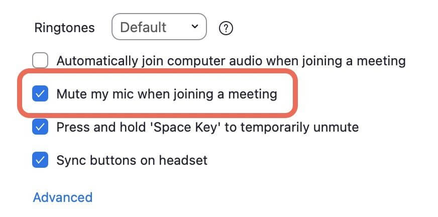 mute yourself by default when joining a meeting