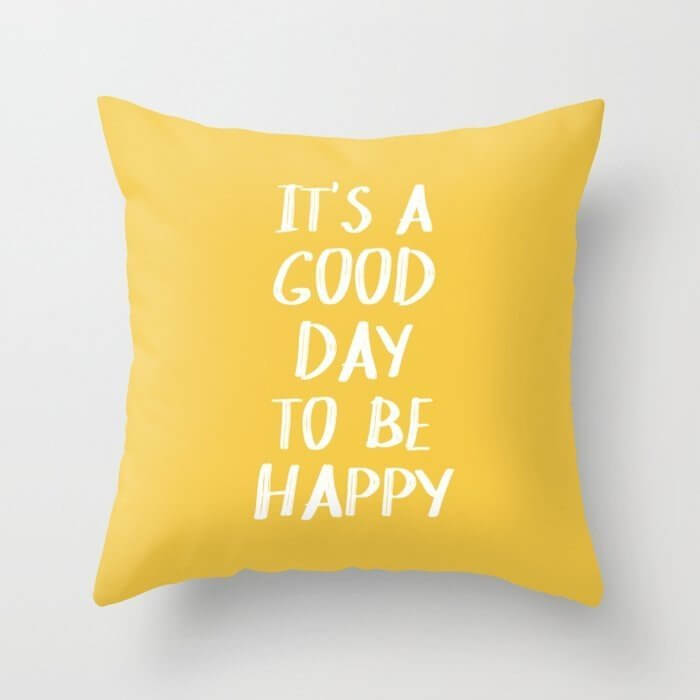 good day to be happy fun yellow pillow as a gift for employees