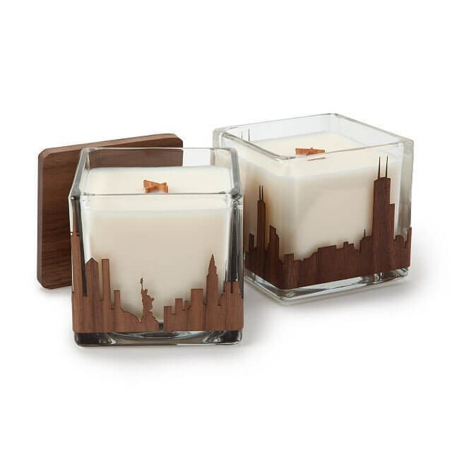 skyline candle is a nice touch for an office desk